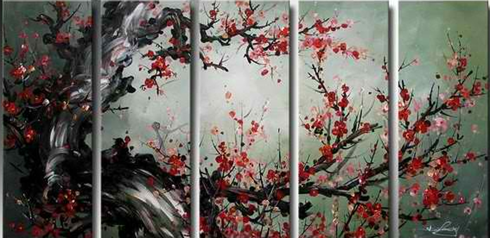 Tree with Red Flowers 5 piece set Painting