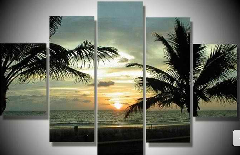 Sun Rise in Seashore 5 piece set Painting