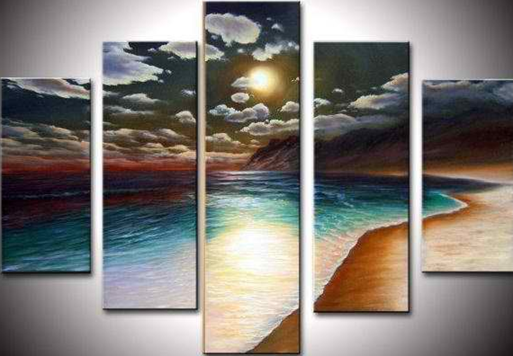 Night Time in Beach 5 piece set Painting
