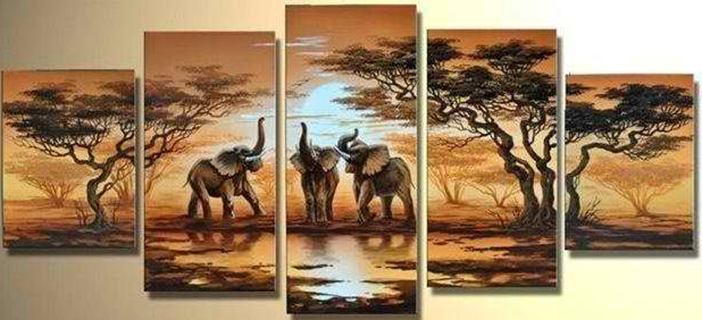 Elephants in Sunset 5 piece set Painting