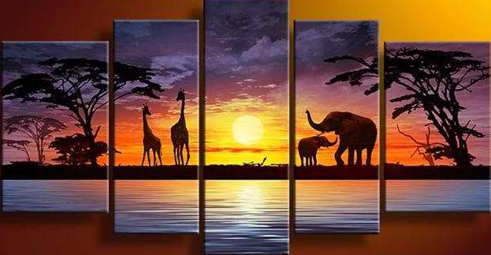 The Animals in Sunset 5 piece set Painting