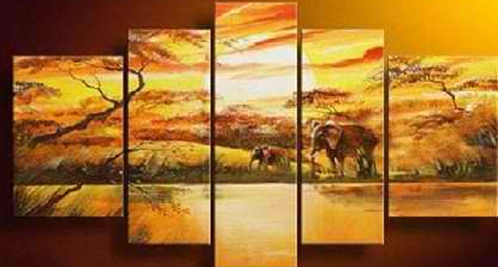 Noon with the Elephants 5 piece set Painting