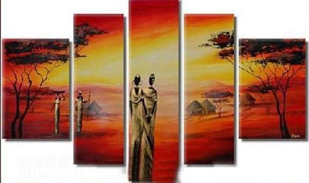 People during Sunset 5 piece set Painting