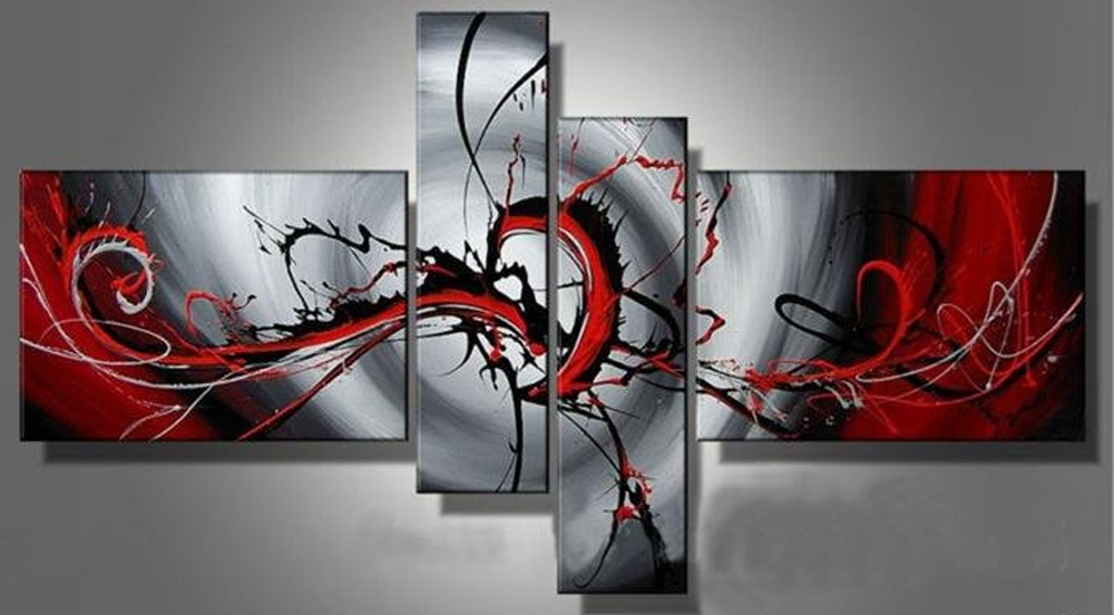 Flying Red Dragon 4 piece set Painting