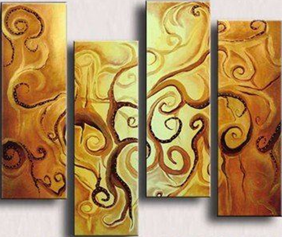 Abstract Curve Pattern 4 piece set Painting