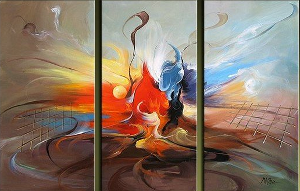 Abstract Dancing Bird 3 piece set Painting