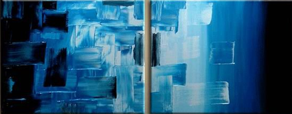 Abstract Blue Tiles 2 piece set Painting