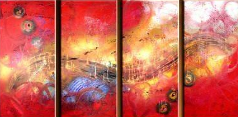 Abstract Red Image 4 piece set Painting