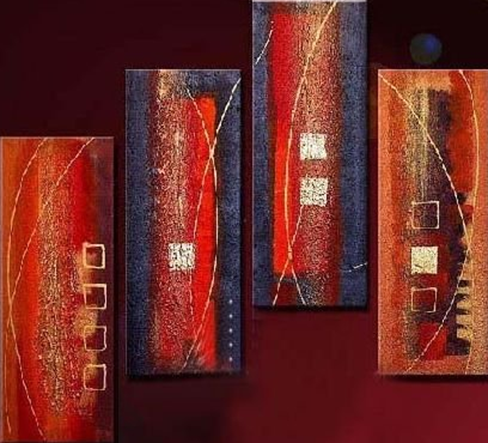 Red and Blue Combination 4 piece set Painting