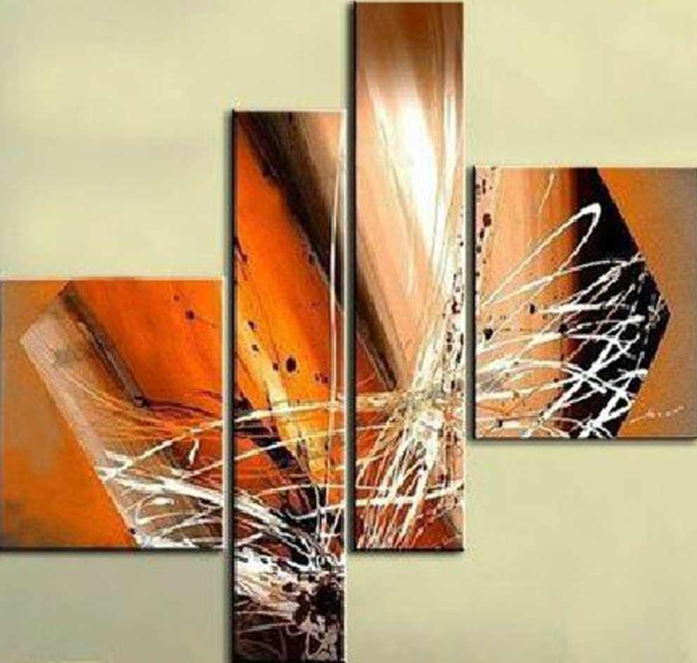 Orange Design 4 piece Painting