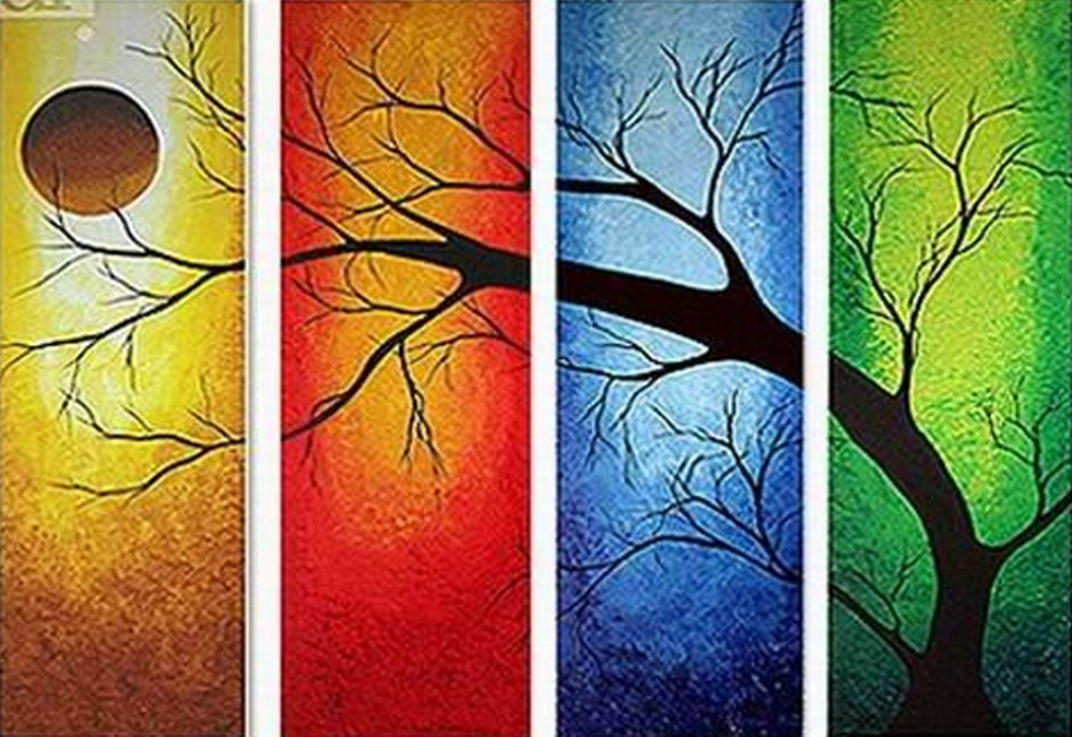 Four Colored Tree 4 piece set Painting