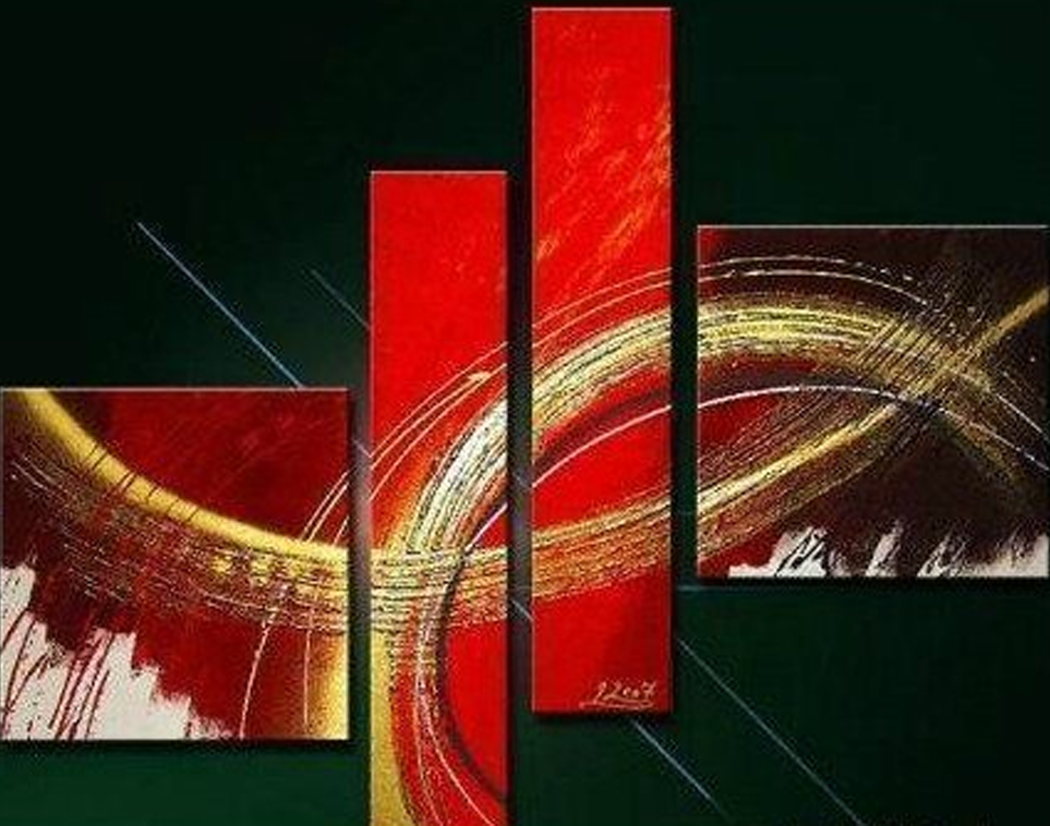 Amazing Red Style Design 4 piece set Painting