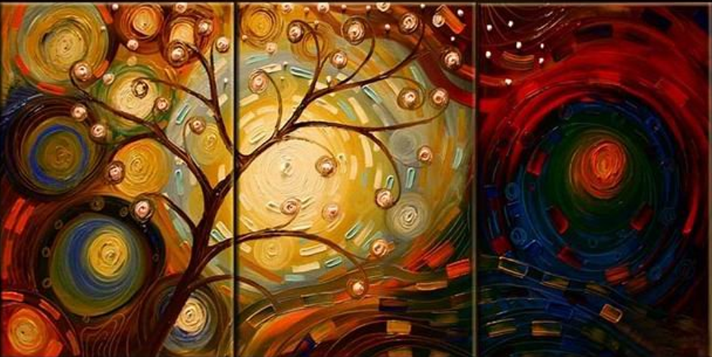 Light and dark collides 3 piece set painting simply nice for Set of three canvas paintings
