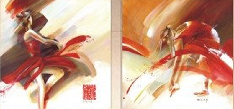 Dancing Lady with Man 2 piece set Painting