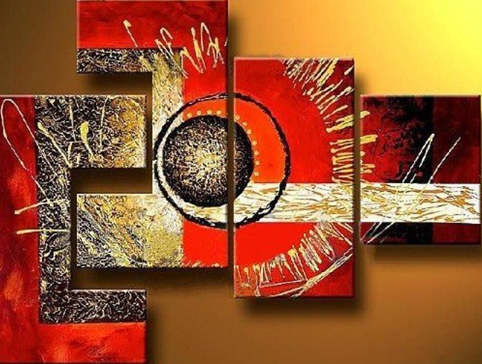 Red Background Eyeball 4 piece set Painting