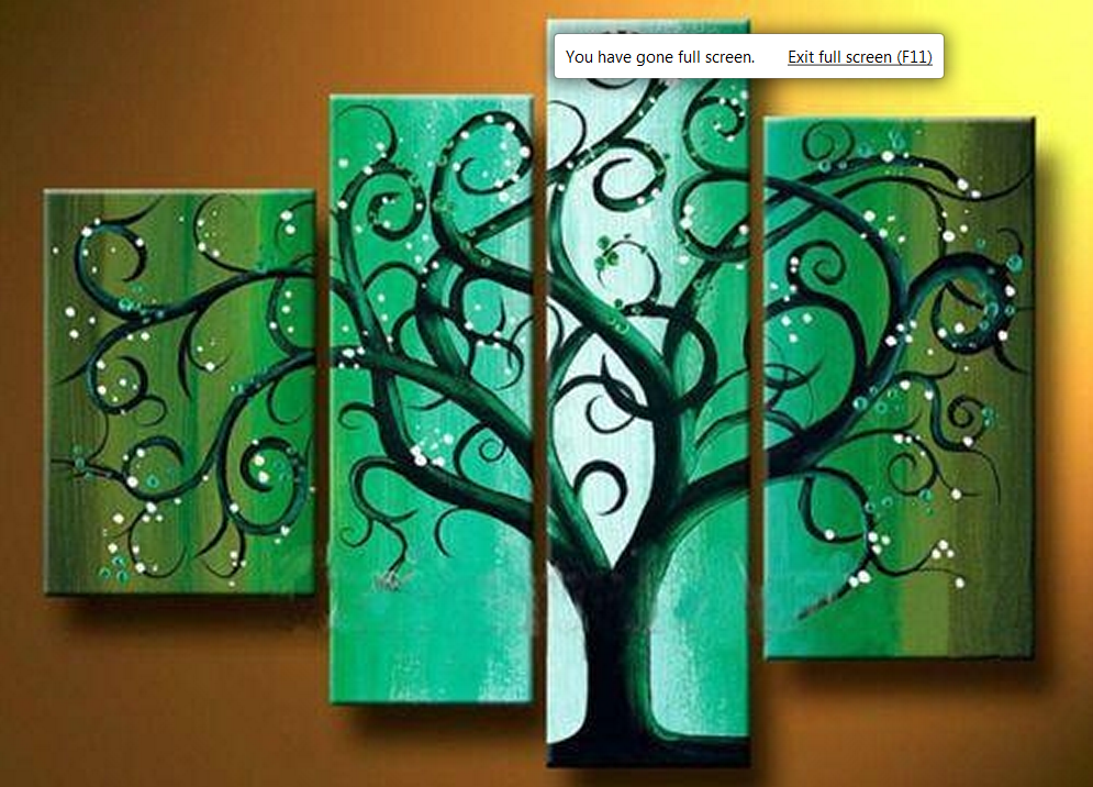 Green Tree 4 piece set Painting