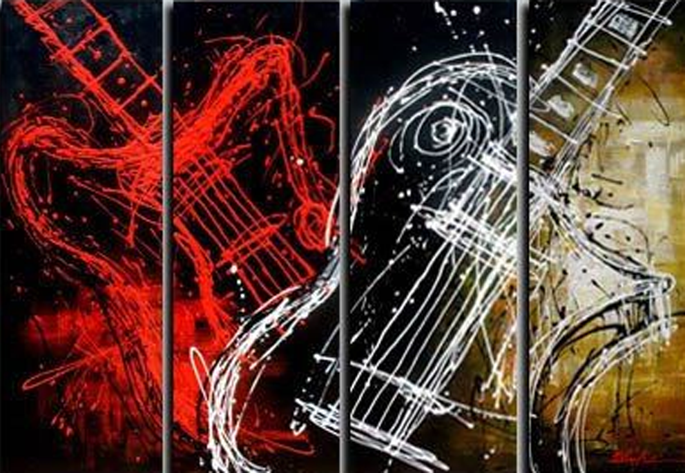 Double Guitar Art 4 piece set Painting