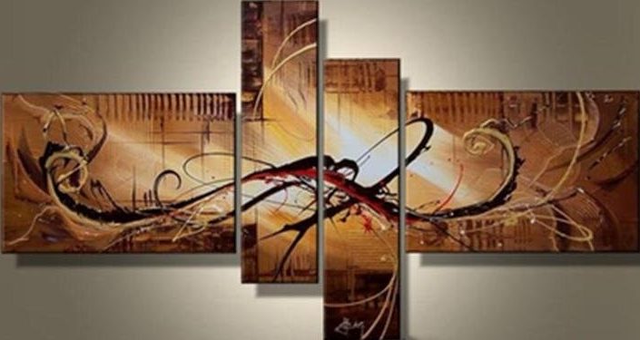 Abstract Black Object 4 piece set Painting