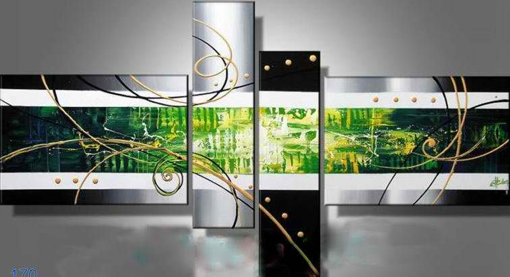 Abstract Green Image 4 pieces set painting
