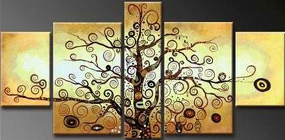 Abstract Orange Tree 5 pieces set Painting