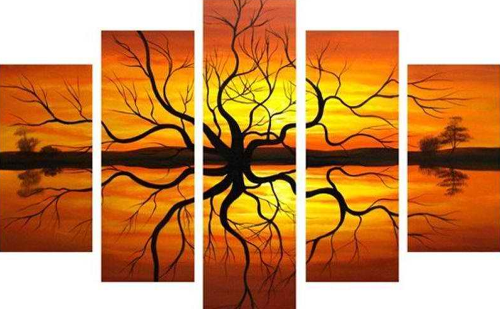 Tree in Symmetry 5 pieces set Painting