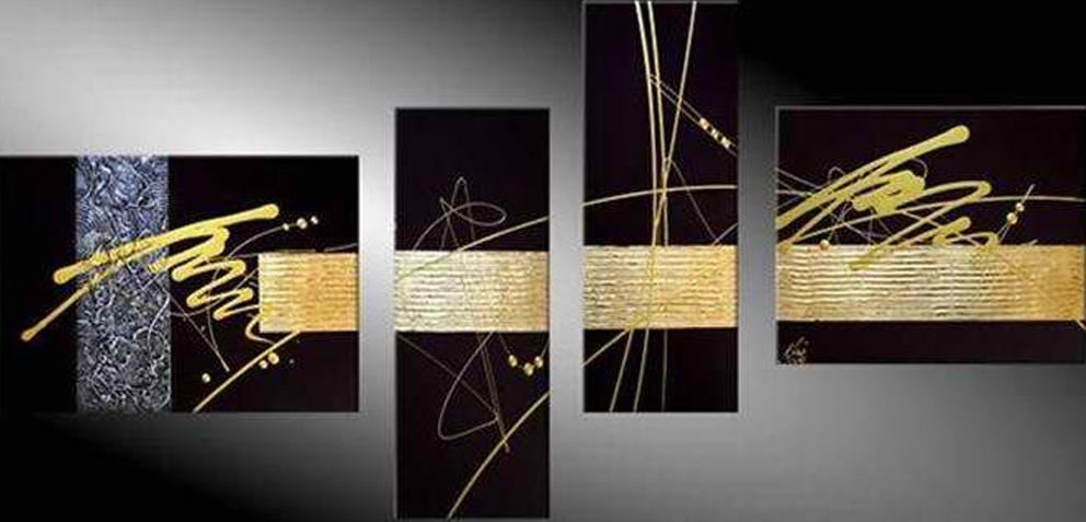 Black and Yellow Style 4 pieces set Painting