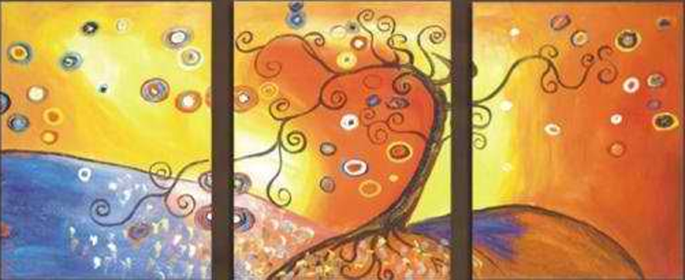 Abstract Heart Design 3 pieces set Painting
