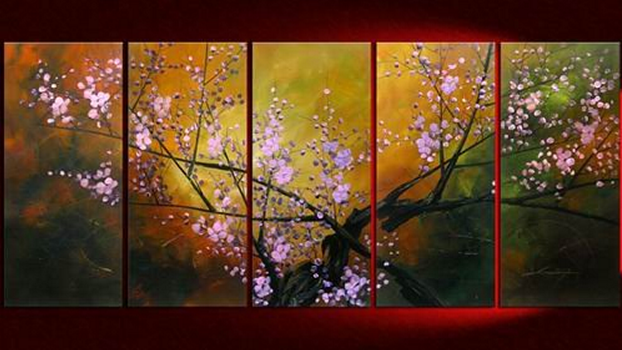 Pink Flowers 5 pieces set Painting
