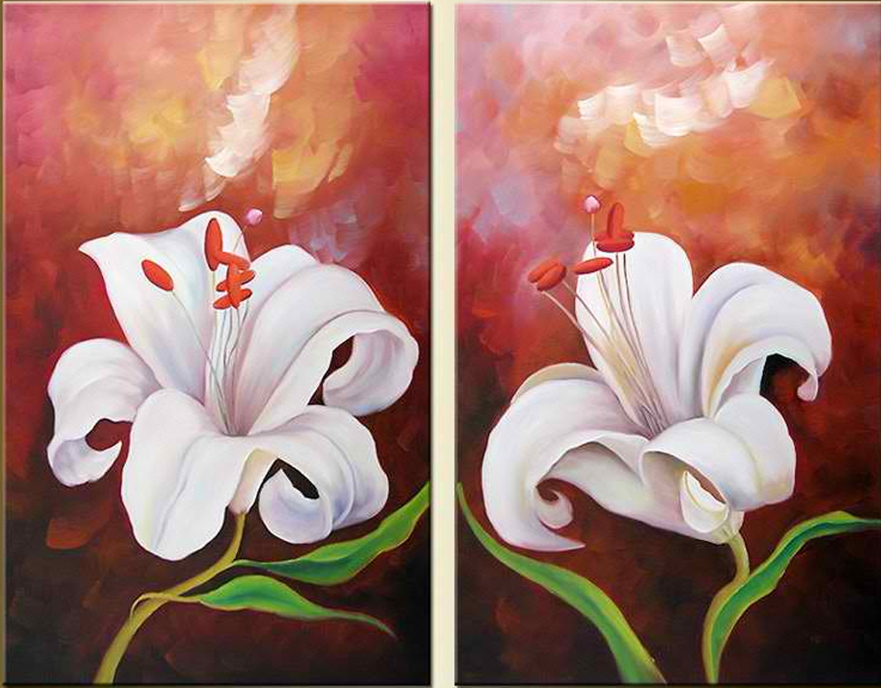Double White Flowers 2 pieces set Painting