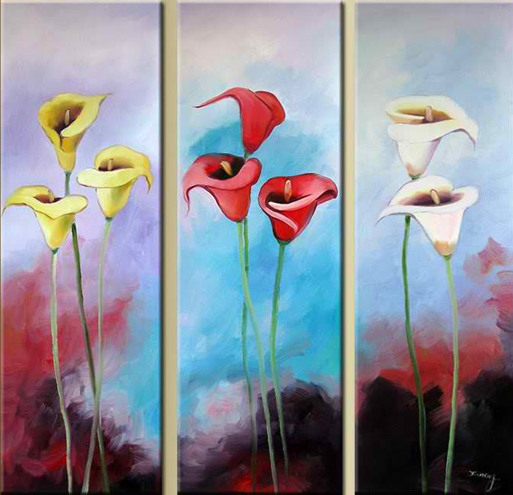 Three Different Colored Flowers 3 Piece Set Painting