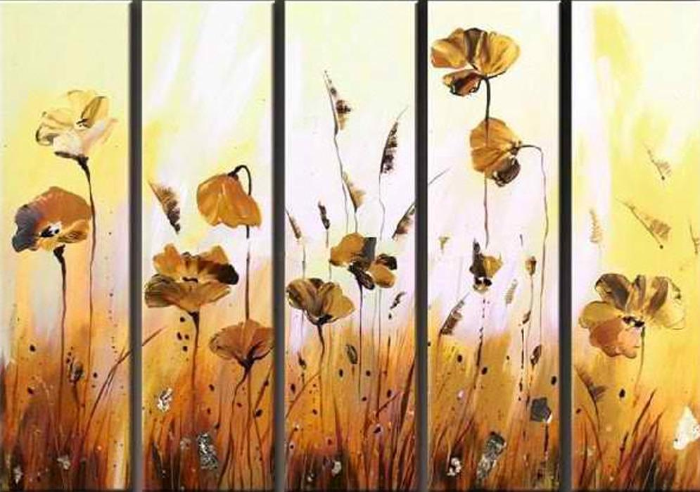 Orange Flowers 5 pieces set Painting