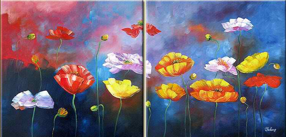 Different Colored Flowers 2 piece set Painting