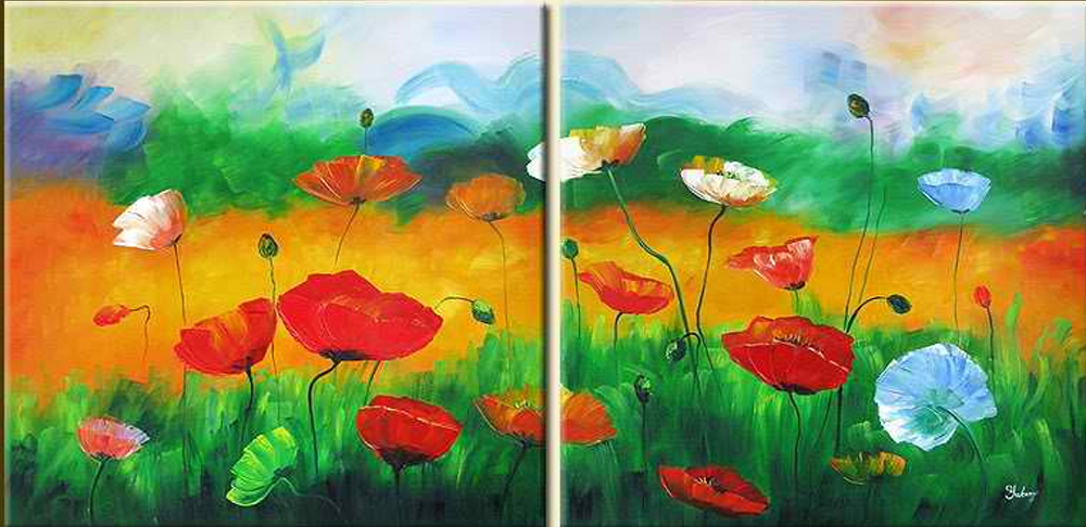 Garden Flowers 2 pieces set Painting