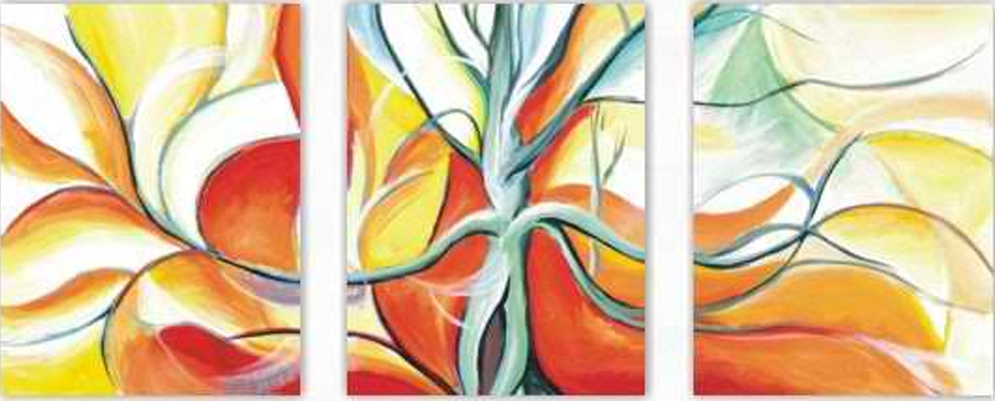 Abstract Flower 3 pieces set Painting