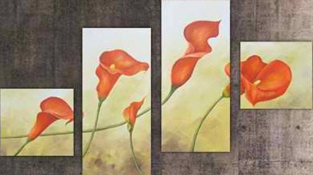 Five Flowers 4 pieces set Painting