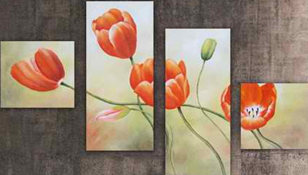 Four Orange Flowers 4 pieces set Painting