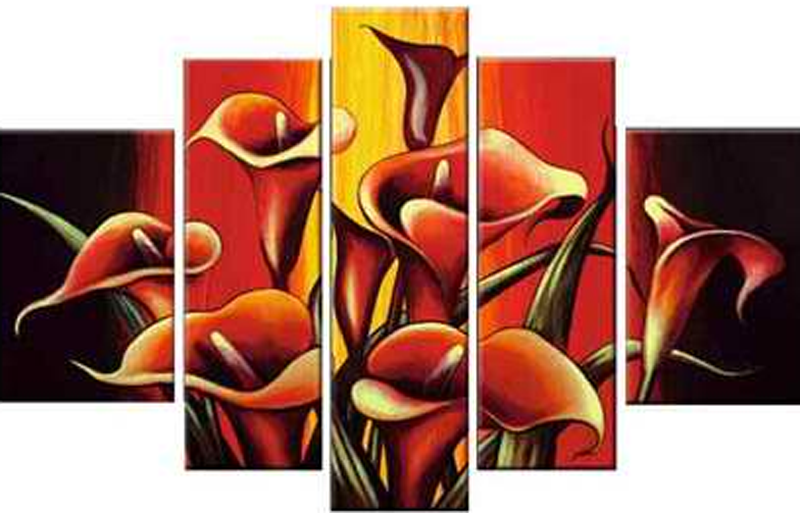 Red Group of Flowers 5 pieces set Painting