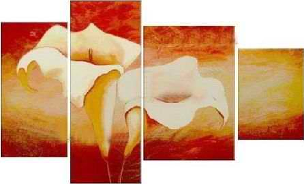 Red Background Flower 4 pieces set Painting