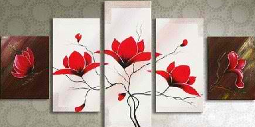 Five Red Flowers 5 pieces set Painting