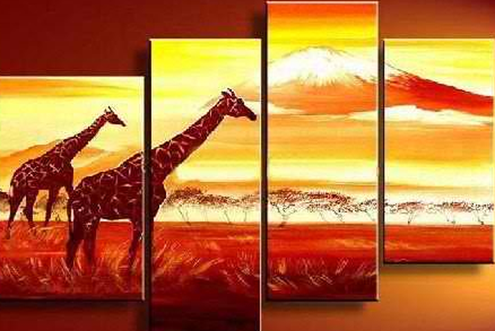 Giraffe in Sunset 4 pieces set Painting