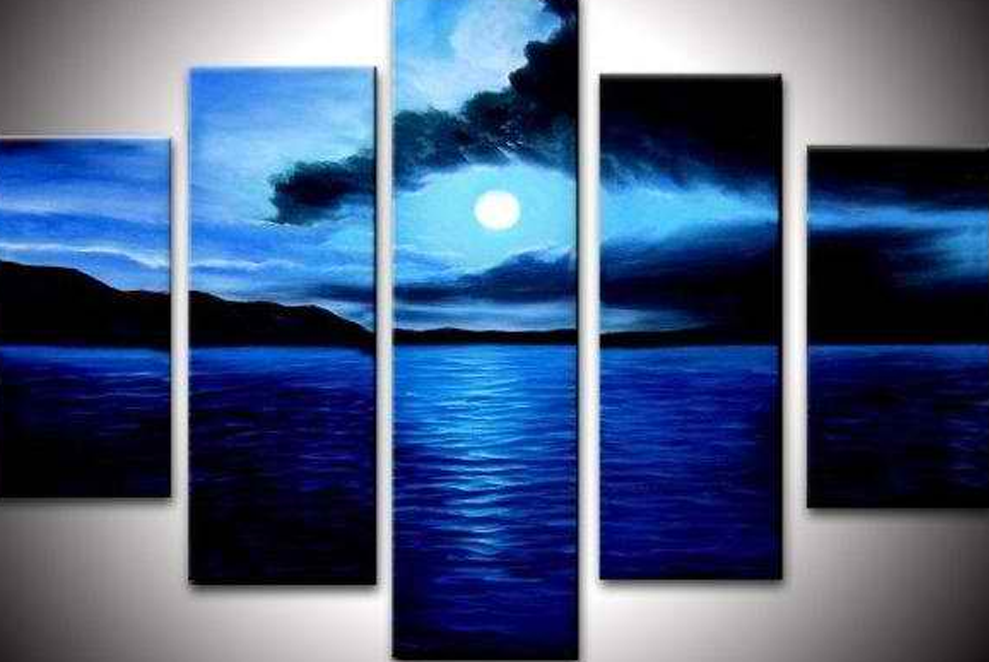 Blue Moon 5 pieces set Painting