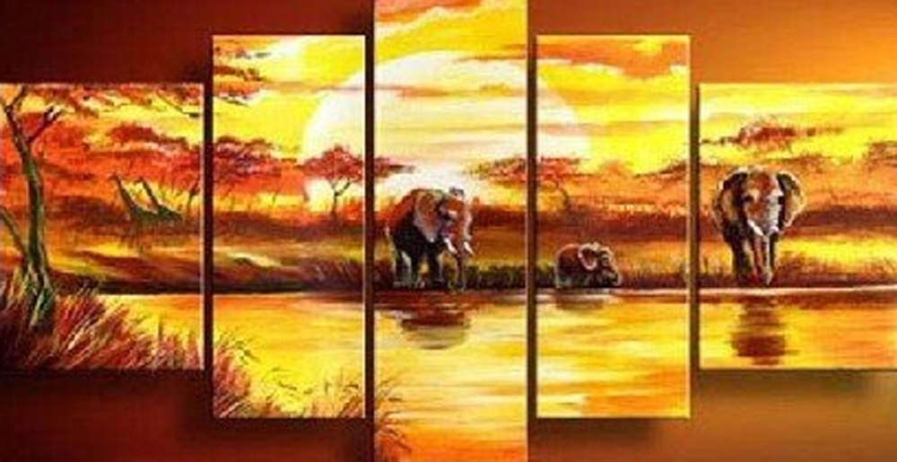 Elephants Drinking 5 pieces set Painting