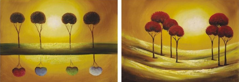 Two  Groups Of Tree 2 pieces set Painting