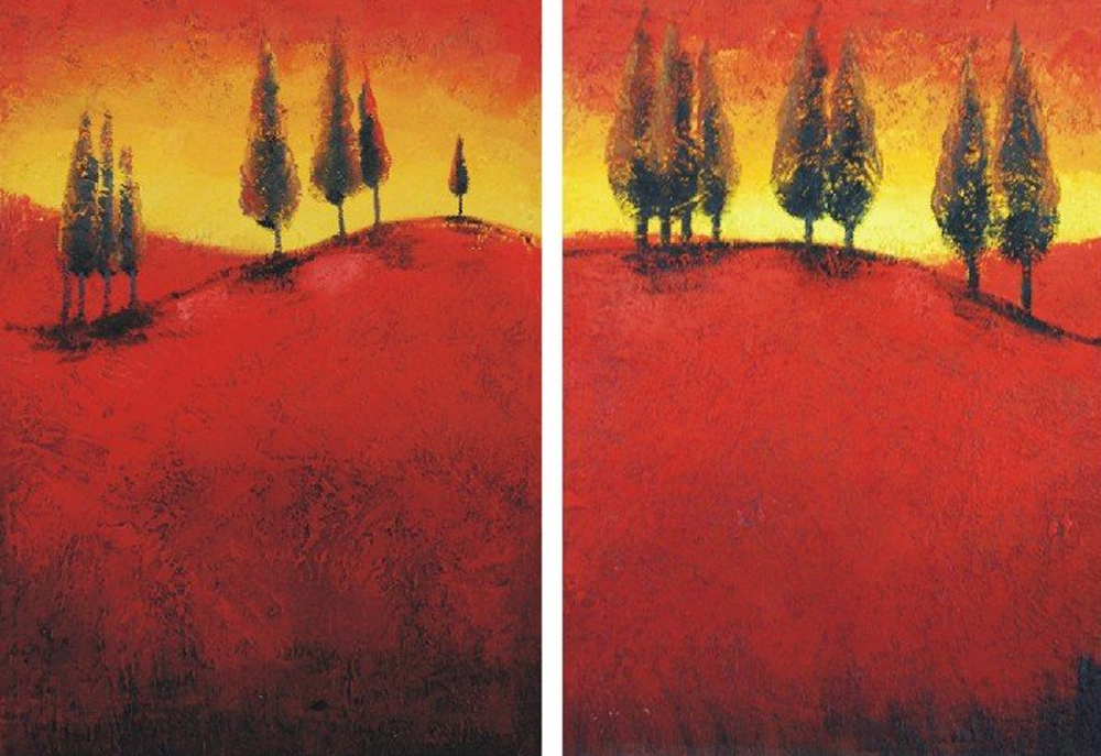 Red Land 2 pieces set Painting