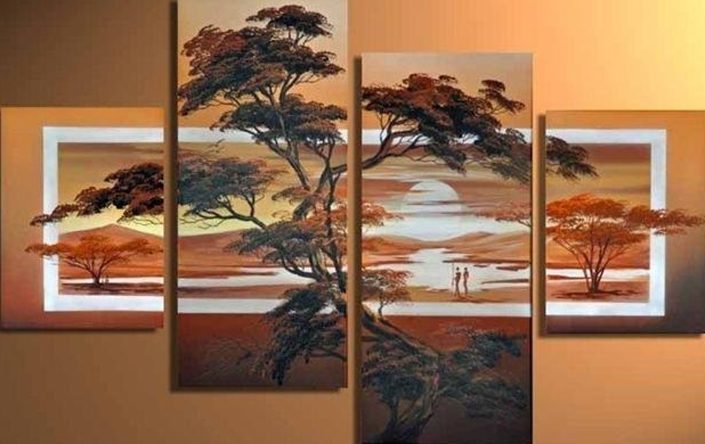 Acacia Tree 4 pieces set Painting