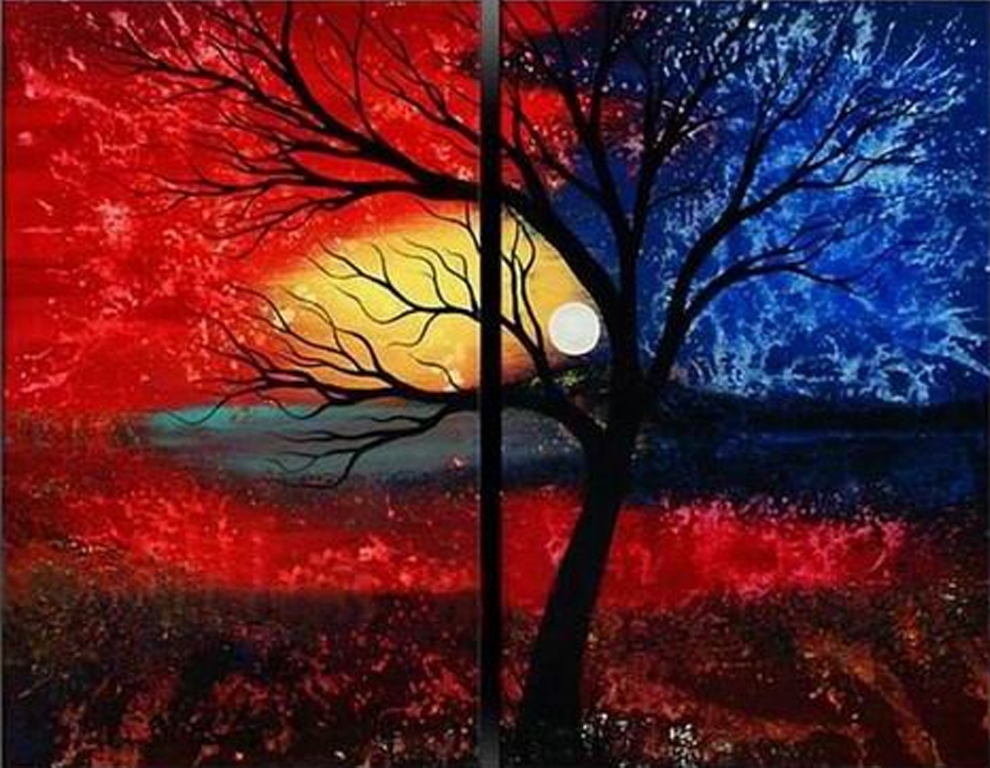 Blue and Red Design 2 pieces set Painting