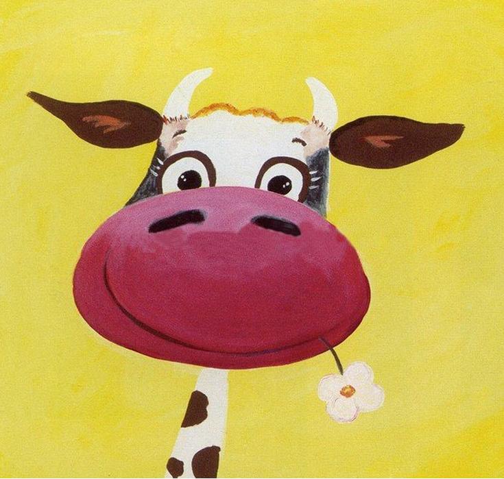 Cartoon Cow Oil Painting