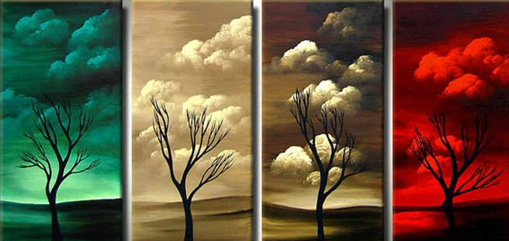 Dying Tree 4 pieces set Painting