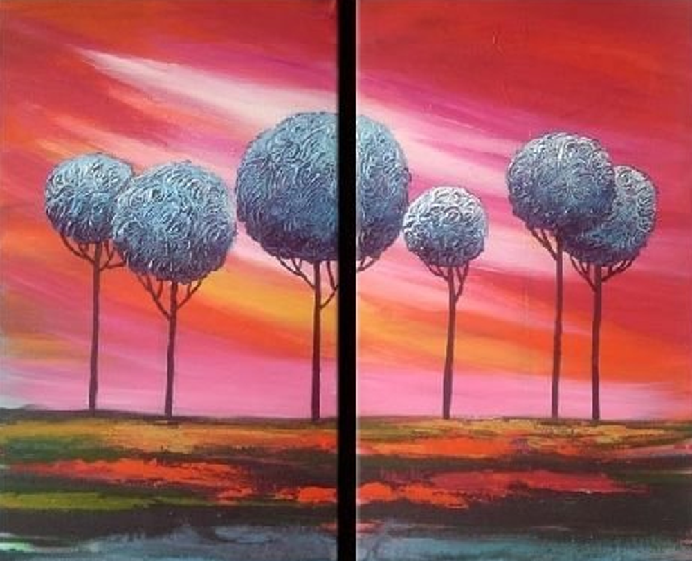 Blue Trees 2 pieces set Painting