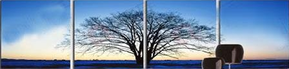 Blue Background Tree 4 pieces set Painting